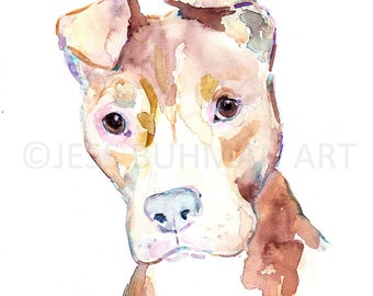 """Watercolor Dog Painting, """"Sophie the Pit Bull"""" by Jessica Buhman Print of Dog, Pit Bull Painting, Watercolor Dog, Print of Dog, Print of Pet"""