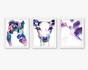 Purple and Pink Nursery Set of 3 Watercolor Prints, Nursery Art, Watercolor Nursery Prints, Woodland Art, Nursery Watercolors, Owl Print Art
