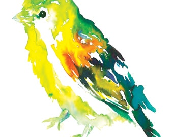 """Print of Original Watercolor Painting, Titled: """"Will the Wee Bird"""" by Jessica Buhman 8 x 10 Yellow Green Orange Turquoise"""