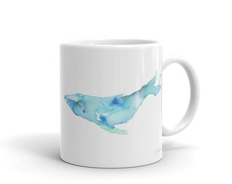 "Whale Watercolor Mug ""Whale"" Watercolor Artwork on White Ceramic Mug by Jess Buhman"