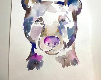 """Original Watercolor Bear Painting, """"Bart the Bear"""" by Jess Buhman 11"""" x 14"""" Original Animal Painting, Watercolor Bear Art, Nursery Art"""