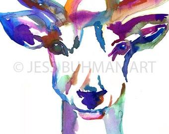 Deer Watercolor Print, Buck Watercolor Print, Buck Painting, Watercolor Deer, Christmas Painting, Christmas Art, Nursery Art, Animal Art