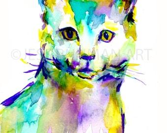 Cat Watercolor Print, Print of Cat Painting, Cat Illustration, Abstract Cat Art, Watercolor Print of Cat, Colorful Cat Art, Cat Print