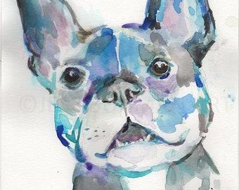 "Original Watercolor ""French Bulldog"" by Jess Buhman, 9"" x 12"" Original Painting on Cold Press Paper, Original Dog Art"