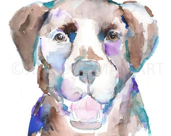 """Print of Watercolor Painting """"Abby the Chocolate Lab"""" 8 x 10 Pet Dog Painting Labrador Brown Chocolate Labrador Painting, Print of Lab Dog"""