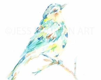 "ON SALE Print of Original Painting ""Always Looking Up"" by Jessica Buhman Yellow Blue Green Bird"