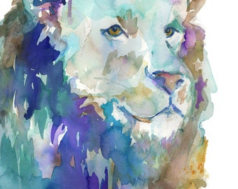 Lion Watercolor Painting Print, The King Print, Lion Painting, Lion Art, Print of Animal, Animal Painting, Jungle Painting, Nursery