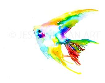 Angelfish Watercolor Print, Angelfish Watercolor Painting, Abstract Fish Painting, Print of Fish, Ocean Art, Colorful Fish Painting
