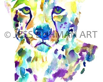 """Cheetah Watercolor Print, """"Chester"""" by Jess Buhman, Multiple Sizes, Select Your Size,  Watercolor Cheetah Painting, Nursery Decor"""