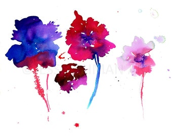 Flower Watercolor Print, Floral Painting, Print of Flowers, Floral Watercolor, Flower Art, Spring Painting, Colorful Painting, Abstract Art