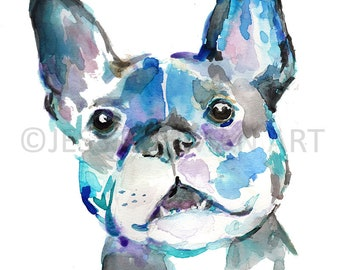 """Dog Painting Print, """"French Bulldog"""" by Jess Buhman, Multiple Sizes, Select Your Size, French Bulldog Print"""