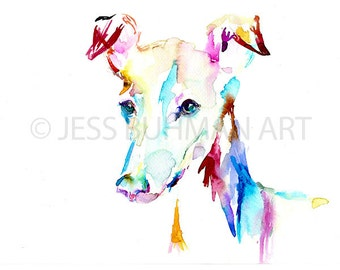 """Print of Watercolor Painting """"Trevi"""" 8 x 10 Pet Dog Painting Miniature Greyhound Puppy Blue Purple"""