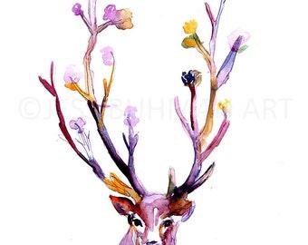 Buck Watercolor Painting Print, Deer Watercolor Painting, Flowers Watercolor, Antlers Painting, Nursery Art, Nursery Watercolor, Deer Art
