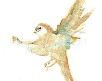 Print of Bird Painting, Bird Watercolor Print, Watercolor Bird Print, Abstract Bird Painting, Nursery Bird Art