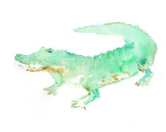 Alligator Print, Watercolor Alligator Art, 8 x 10 Print, Alligator Painting, Print of Alligator, Watercolor Animal, Nursery Art, Zoo Animal