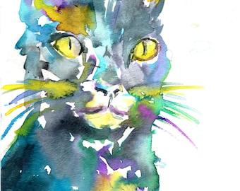 Cat Watercolor Painting Print, Black Cat Painting, Black Cat Watercolor, Print of Cat, Cat Print, Black Cat Art, Black Cat Print, Cat Art