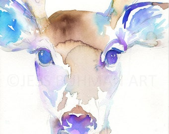 """Watercolor Deer Print, """"I Only Have Eyes For You"""" by Jess Buhman, Multiple Sizes, Select Your Size"""