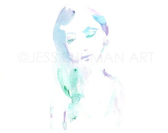 Beauty Within by Jessica Buhman, Print of Original Watercolor Painting, 8 x 10 Fashion Illustration Painting of Woman