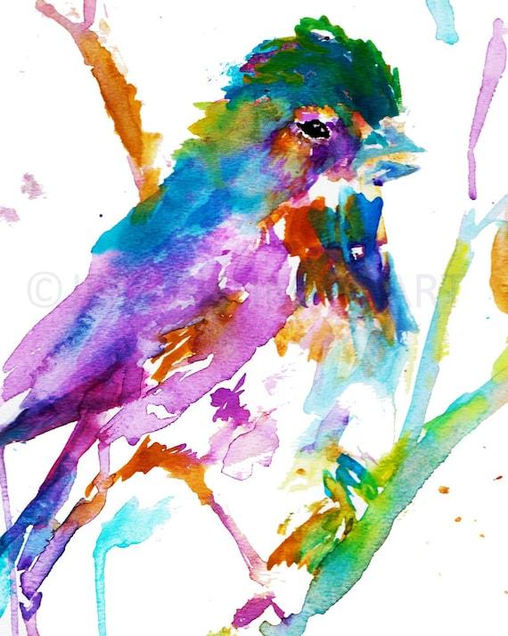 print of bird painting watercolor bird print colorful bird etsy
