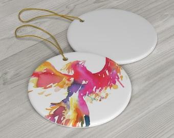 "Ceramic Ornament ""Phoenix"" with artwork by Jess Buhman"