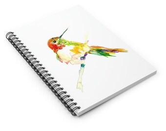 "Hummingbird Watercolor Notebook, Personal Journal, Artwork by Jess Buhman, ""Hum"", Bird Painting"