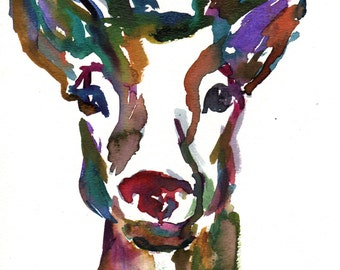 Rudolph Watercolor Painting Print, Print of Rudolph, Watercolor Deer Print, Reindeer Painting, Reindeer Watercolor, Print of Deer, Deer Art
