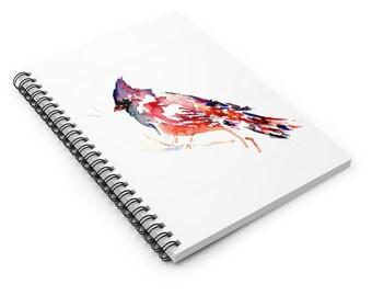 "Cardinal Watercolor Notebook, Personal Journal, Artwork by Jess Buhman, ""The Cardinal Rule"", Bird Painting"