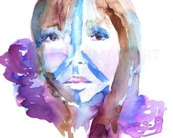 Choose Peace by Jessica Buhman, Print of Original Watercolor Painting, 8 x 10 Blue Pink Purple Woman Model Art