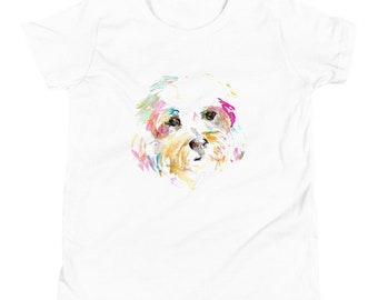 """Terrier Dog Youth Short Sleeve T-Shirt   """"Mrs. Sophie"""" by Jess Buhman printed on t-shirt, Multiple Colors, Kid's Dog Shirt"""
