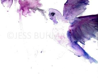 Hummingbird Watercolor Painting Print, Hummingbird Painting, Hummingbird Print, Print of Watercolor Bird, Bird Painting, Abstract Bird Art
