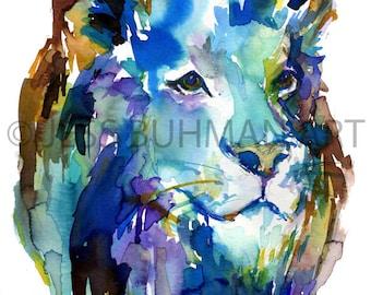 Print of Lion, Lion Watercolor Print, Lion Watercolor Painting, Nursery Art, Nursery Watercolor, Animal Painting, Animal Print, Animal Art