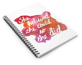 """Quote Watercolor Notebook, Personal Journal, Artwork by Jess Buhman, """"She Believed She Could So She Did"""", Manifestation Journal"""