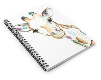 "Giraffe Watercolor Notebook, Personal Journal, Artwork by Jess Buhman, ""Joshua the Giraffe"", Giraffe Painting"
