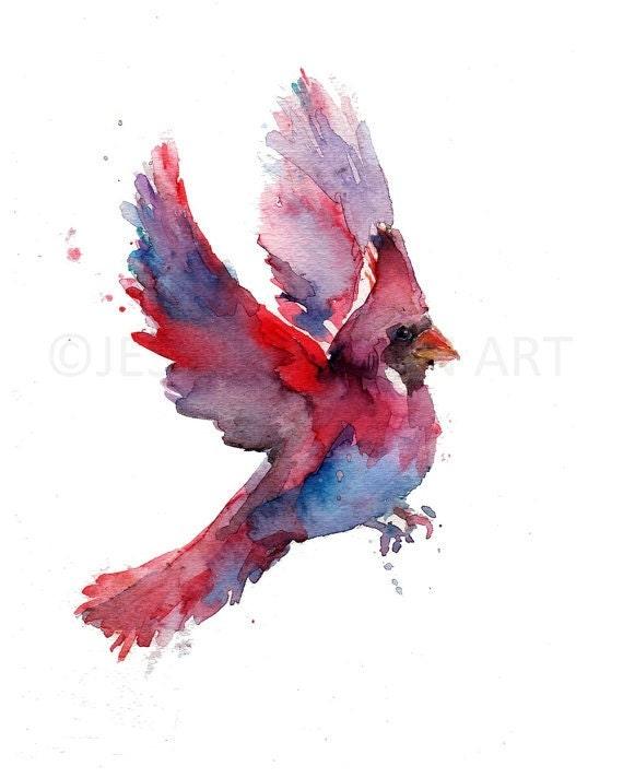 Watercolor Cardinal Tattoo: Cardinal Watercolor Painting Print Cardinal Watercolor