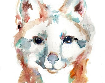 Grey Fox Watercolor Painting Print, Fox Painting, Fox Illustration, Nursery Art, Woodland Art, Animal Painting, Animal Art, Print of Fox