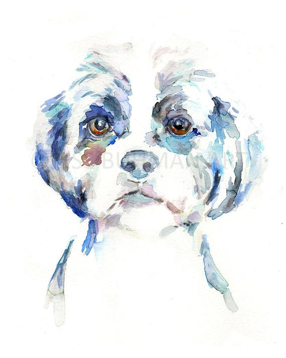 maltese dog 8x10 art print poster watercolor painting