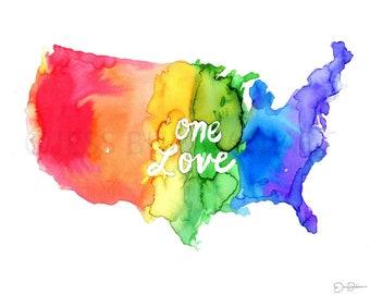 "Watercolor Gay Pride Instant Download, ""One Love"" by Jess Buhman, Rainbow Map, Celebrate Love,  8 x 10 Digital File"