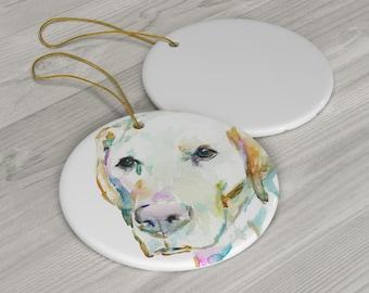 "Ceramic Yellow Labrador Ornament with Artwork ""Love You Labrador"" by Jess Buhman"