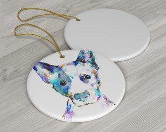 "Blue Heeler Ornament Ceramic Ornament with Artwork ""Blue"" by Jess Buhman, Dog Ornament"