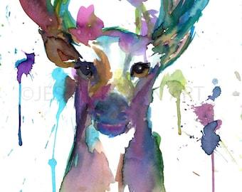 Buck Watercolor Print, Watercolor Deer, Print of Deer, Abstract Deer Painting, Colorful Deer Painting, Print of Deer, Nursery Art, Deer Art