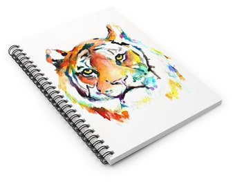 """Tiger Watercolor Notebook, Personal Journal, Artwork by Jess Buhman, """"Eye of the Tiger"""", Big Cat Painting, Jungle Cat Painting"""