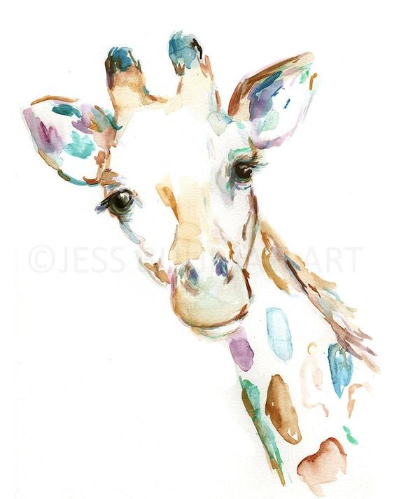 Josué la jirafa imprimir acuarela impresión de jirafa jirafa   Etsy