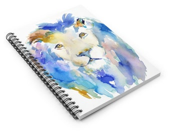"""Lion Watercolor Notebook, Personal Journal, Artwork by Jess Buhman, """"In Like a Lion"""" Big Cat Painting"""