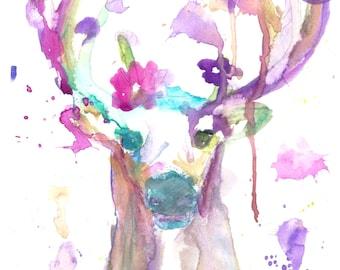 Deer Watercolor Painting, Deer Watercolor Print, Abstract Deer Art, Colorful Deer Art, Nursery Painting, Nursery Print, Nursery Watercolor