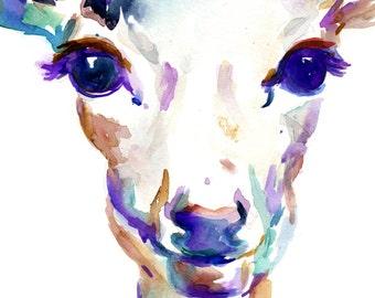 Deer Watercolor Painting Print, Doe Watercolor, Deer Illustration, Deer Painting, Nursery Art, Nursery Watercolor, Print of Deer Art