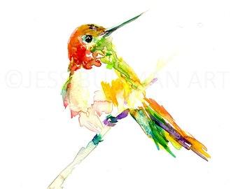 Print of Hummingbird Watercolor, Watercolor Hummingbird, Bird Painting, Watercolor Bird Print, Nursery Art