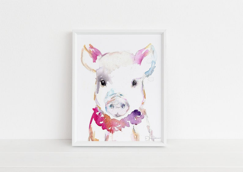 Pig Watercolor Print   Petunia the Pig by Jess image 0