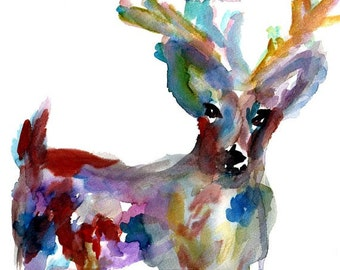 Deer Watercolor Print, Buck Watercolor Painting, Print of Buck, Reindeer Painting, Christmas Painting, Christmas Art, Antlers Painting