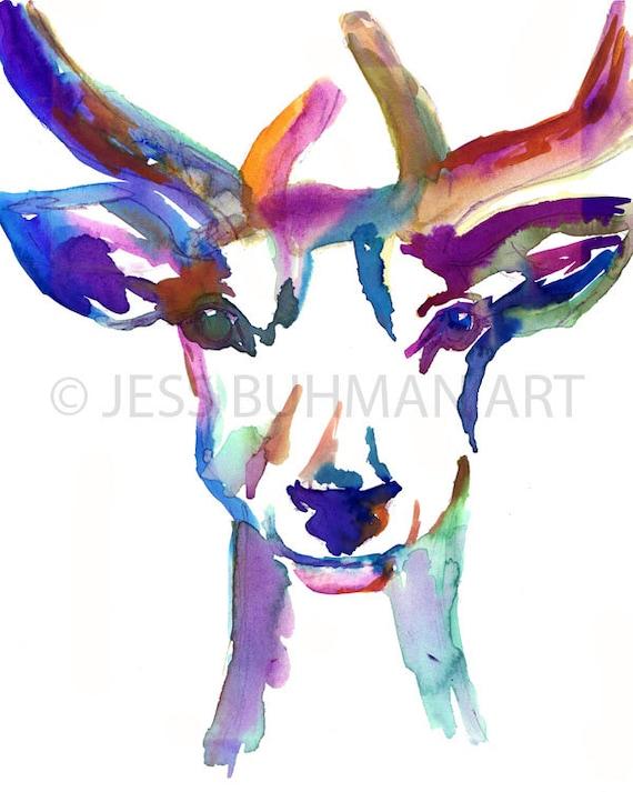 Deer Art Buck Watercolor Print Nursery Art Buck Up by Jess Buhman Select Your Size Nursery Watercolor Deer Watercolor Painting