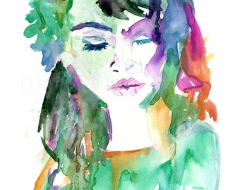 Veronica by Jessica Buhman, Print of Original Watercolor Painting, 8 x 10 Dramatic Vogue Purple Boudoir Green Blue Pink